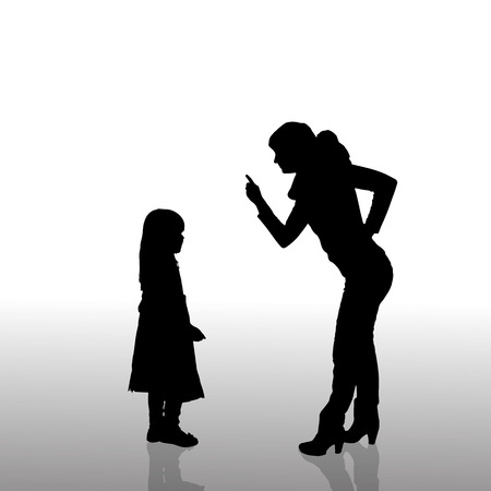 Vector silhouette of family on a white background.  Illustration