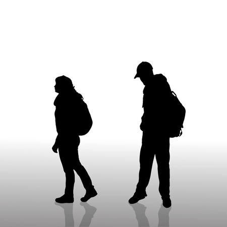 woman hiking: Vector silhouette of a couple with backpack.  Illustration