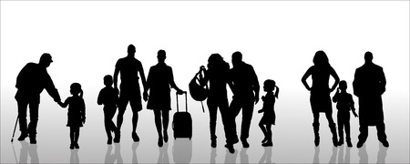 Vector silhouette of family on a white .  Vector