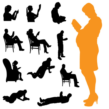 Vector silhouette of a people who are reading on white . Illustration
