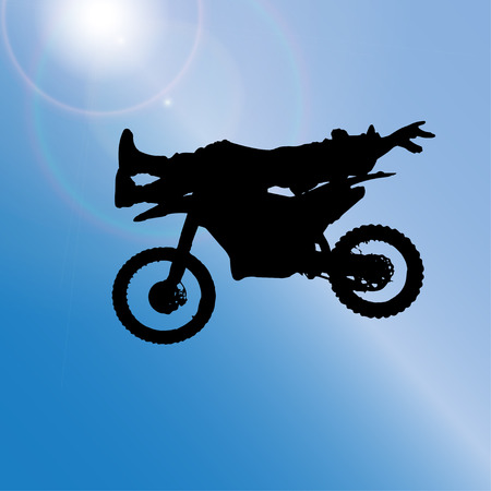 Vector silhouette of a man who jumps on a motorbike.