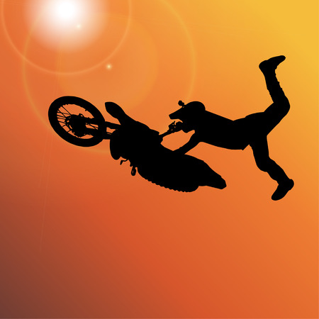 fmx: Vector silhouette of a man who jumps on a motorbike.