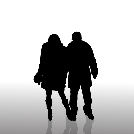 rich couple: Vector silhouette of couple on a white background. Illustration