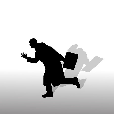 Vector silhouette of a businessman on white background. Vector