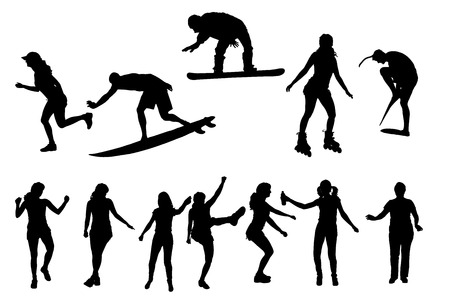 vector silhouette of people in different sports. Vector