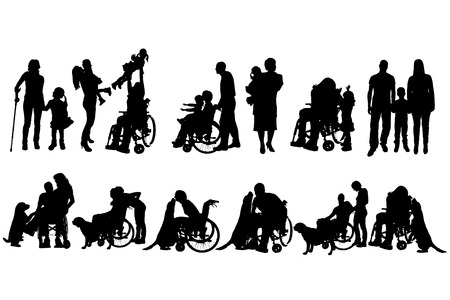 dog wheelchair: Vector silhouette of family on a white background.  Illustration