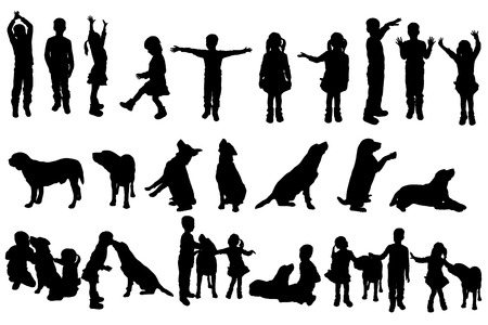 game dog: Vector silhouette of children on white background.