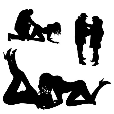striptease: Vector silhouettes of different people on a white background. Illustration