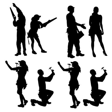 worker silhouette: Vector silhouette of people who work with tools.