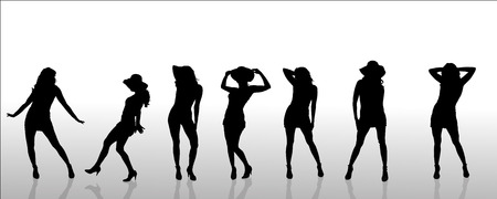 striptease: Vector silhouettes of sexy women on white background. Illustration