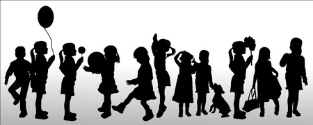 Vector silhouette of children on white background. Vector