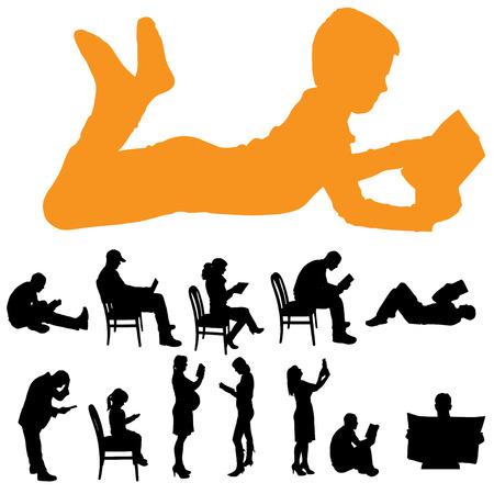 leggere libro: Vector silhouette di un popolo che stanno leggendo su sfondo bianco.