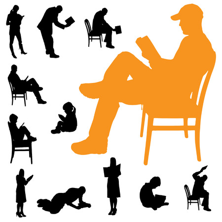 Vector silhouette of a people who are reading on white background. Illustration