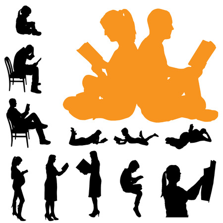 Vector silhouette of a people who are reading on white background. 向量圖像