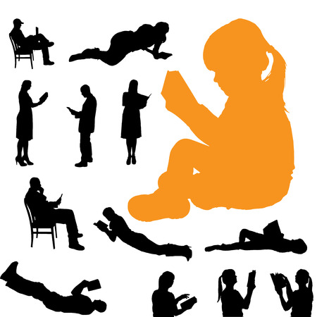 adults learning: Vector silhouette of a people who are reading on white background. Illustration