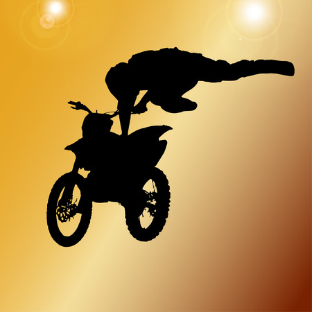 Vector silhouette of a man who jumps on a motorbike. Vector