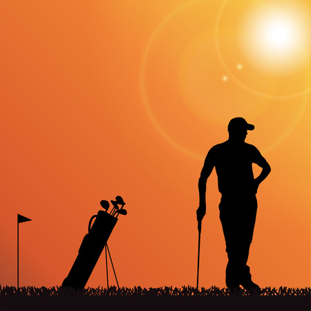 Vector silhouette of a man playing golf. Vector