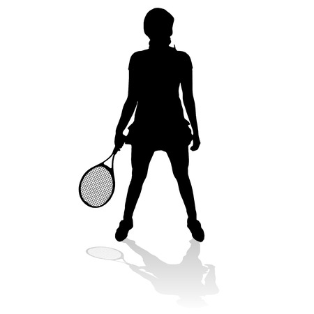 Vector silhouette of a woman playing tennis. Vector