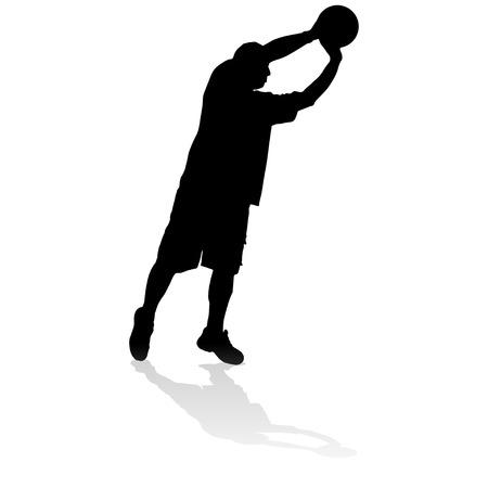 balon voleibol: Vector silueta de un hombre que juega al baloncesto. Vectores