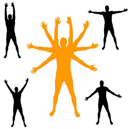 Vector silueta de un hombre con los brazos extendidos.