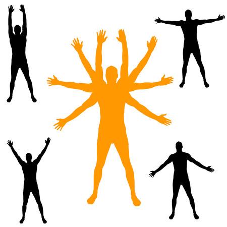 silueta masculina: Vector silueta de un hombre con los brazos extendidos. Vectores