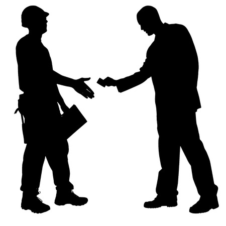 bribe: vector silhouette of a man who gives a bribe.