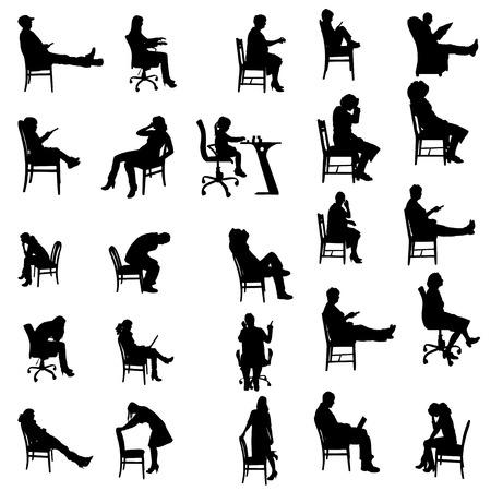 Vector silhouetten van mensen zitten in een stoel.