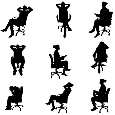 Vector silhouette of people sitting on a chair. Vector