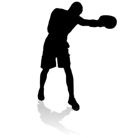 wrestle: Vector silhouette of a man who practices.  Illustration