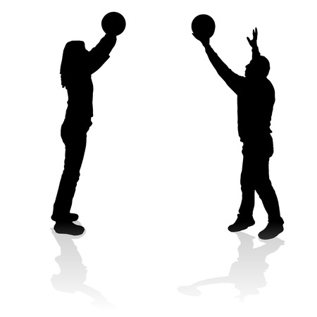 balon de voley: Vector silueta de un hombre que juega al baloncesto. Vectores