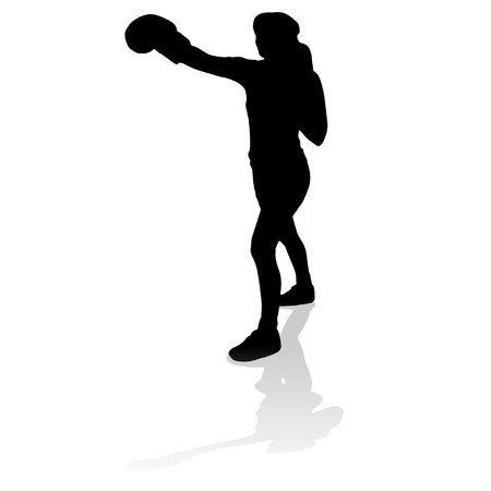 wrestle: Vector silhouette of a woman who practices.