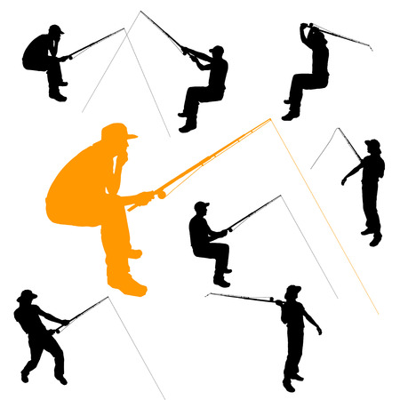 Vector silhouette of fishermen on white background. Vector