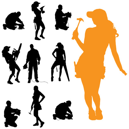 Vector silhouette of people who work with tools. Vector