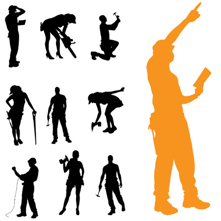 white color worker: Vector silhouette of people who work with tools.