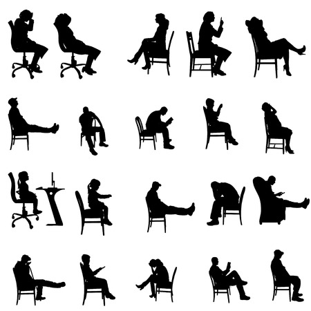nice guy: Vector silhouettes of people sitting in a chair.
