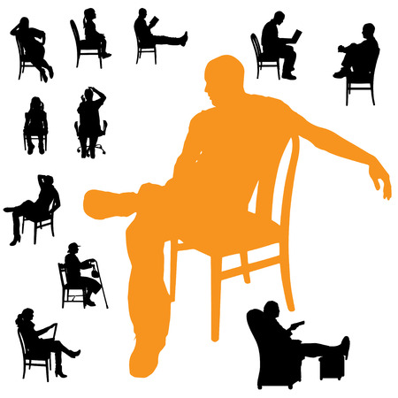 Vector silhouettes of people sitting in a chair. Vector