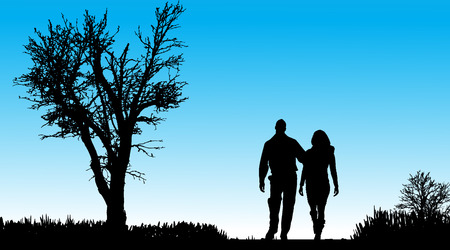 silhouette of couple in nature along the beautiful days. Vector