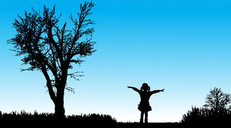 rural road: silhouette of child in nature along the beautiful days.
