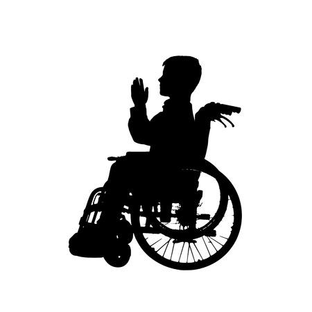 Vector silhouette of a boy in a wheelchair. Vector