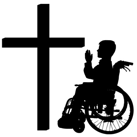 fanaticism: silhouettes of boy at the Cross on white background.