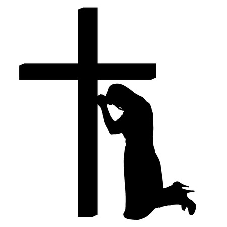 silhouettes of woman at the Cross on white background. Vector