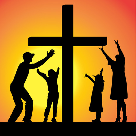 church family: silhouettes of family at the Cross at sunset. Illustration