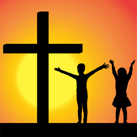 jesus praying: silhouettes of children at the Cross at sunset. Illustration