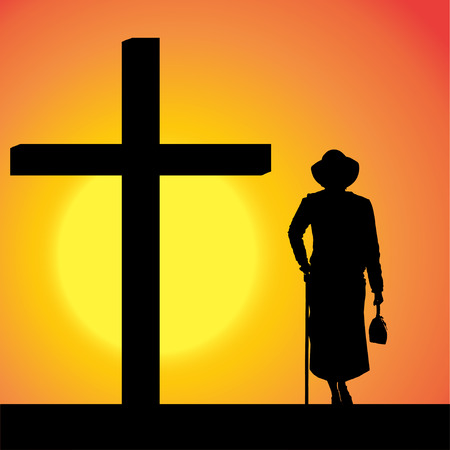 fanatics: silhouettes of woman at the Cross at sunset.