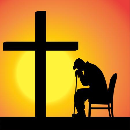 일몰 십자가에서 사람들의 실루엣입니다. 일러스트
