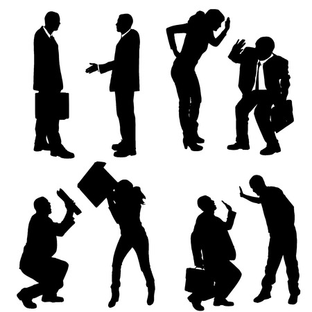 silhouettes of business people on a white background.