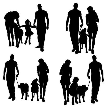 silhouette of people with dog on a white background.