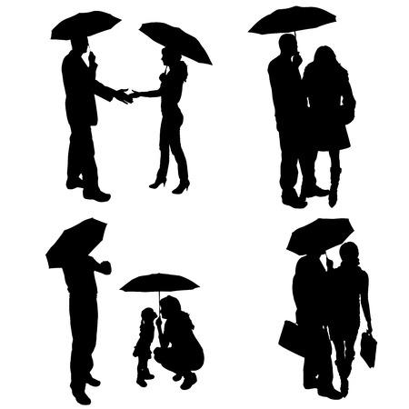 uomo sotto la pioggia: sagoma di coppia su uno sfondo bianco. Vettoriali