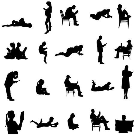 silhuetas de pessoas sentadas em uma cadeira. Ilustração