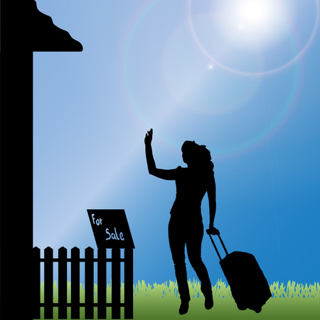 family moving house: silhouette of a woman standing in front of the house.